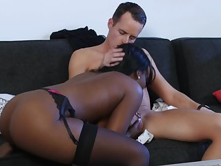 Sickly cock disappears into her gorgeous wet black pussy