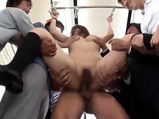 Hairy petite Asian affianced and masturbated rough by a group