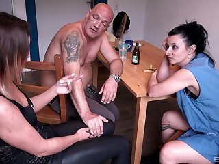 Randy wife Natalie Hot fucks in a threesome at the living room table
